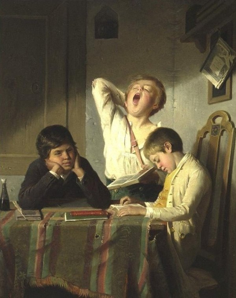 Bored-with-Lessons-August-Heyn-Oil-Painting